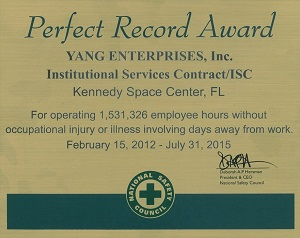 YEI-ISC wins National Safety Council Perfect Record Award